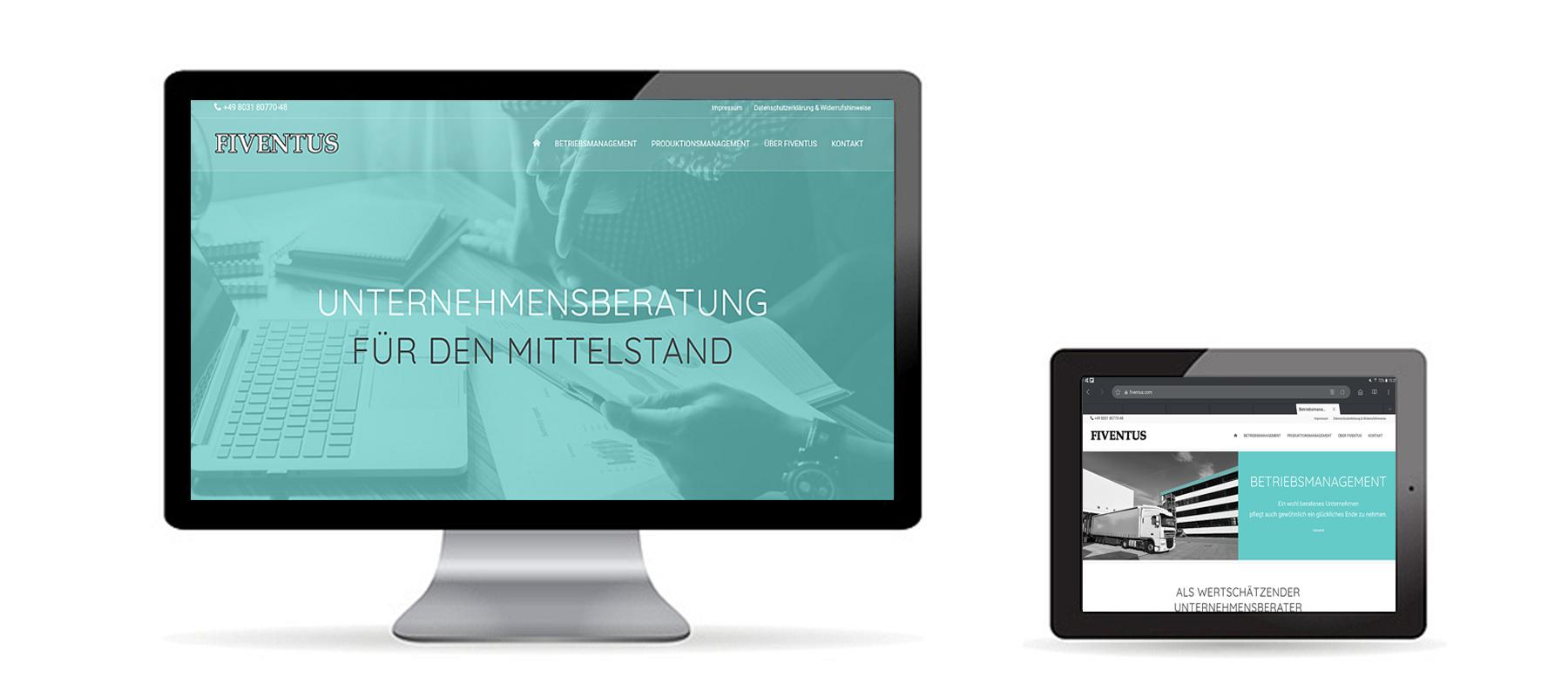 Responsive WordPress Website für Unternehmensberatung Fiventus auf Desktop und Tablet als Referenz von Die Konzepter
