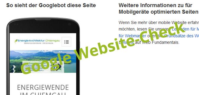 Screenshot Google Check responsive Website