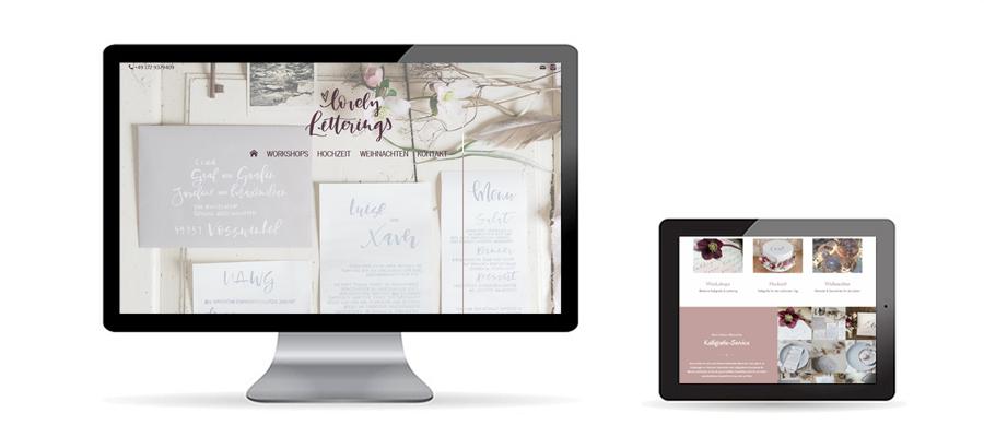 Responsive WordPress Website für Kalligrafie auf Desktop und Tablet als Referenz von Die Konzepter