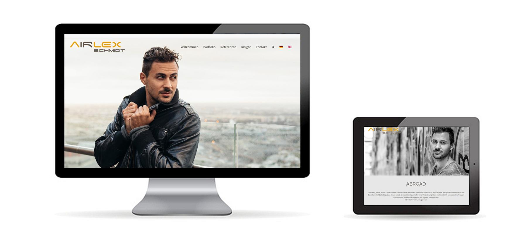 Responsive WordPress Website von Model Airlex auf Desktop und Tablet als Referenz von Die Konzepter