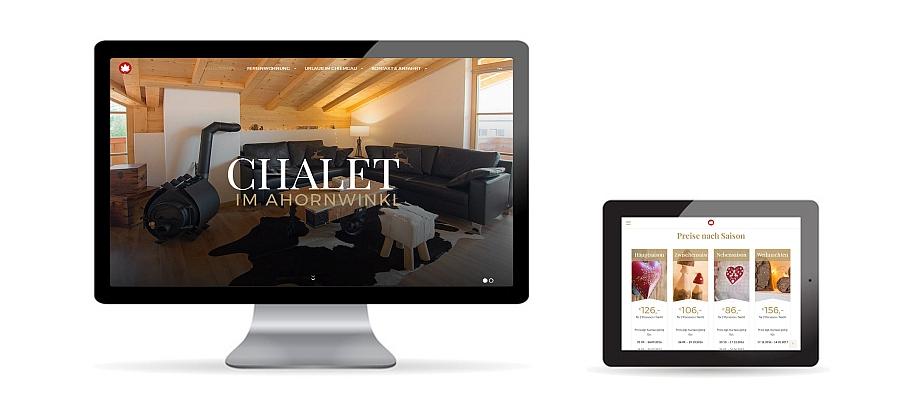 Responsive WordPress Website von Ferienwohnung Chalet im Ahornwinkl Reit im Winkl auf Desktop und Tablet als Referenz von Die Konzepter