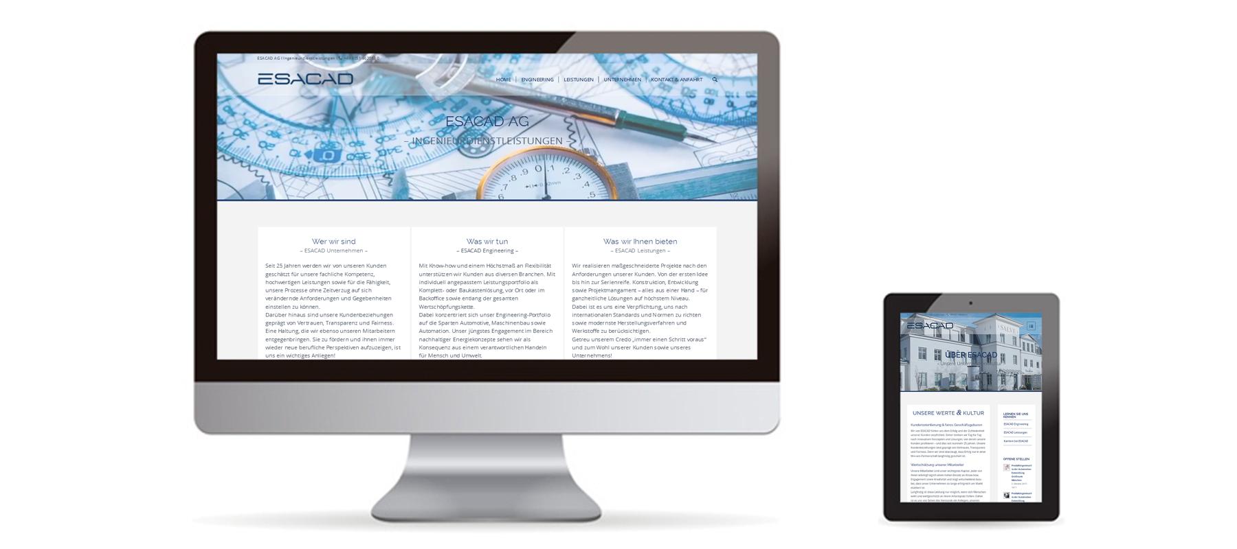 Responsive WordPress Website von ESACAD AG auf Desktop und Tablet als Referenz von Die Konzepter