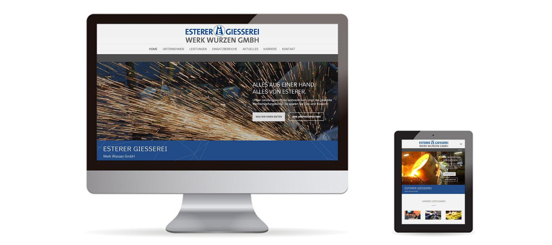 Responsive WordPress Website von Gießerei Wurzen auf Desktop und Tablet als Referenz von Die Konzepter