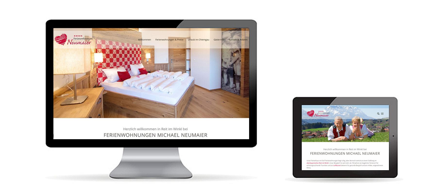 Responsive WordPress Website von Ferienwohnungen Neumaier Reit im Winkl auf Desktop und Tablet als Referenz von Die Konzepter