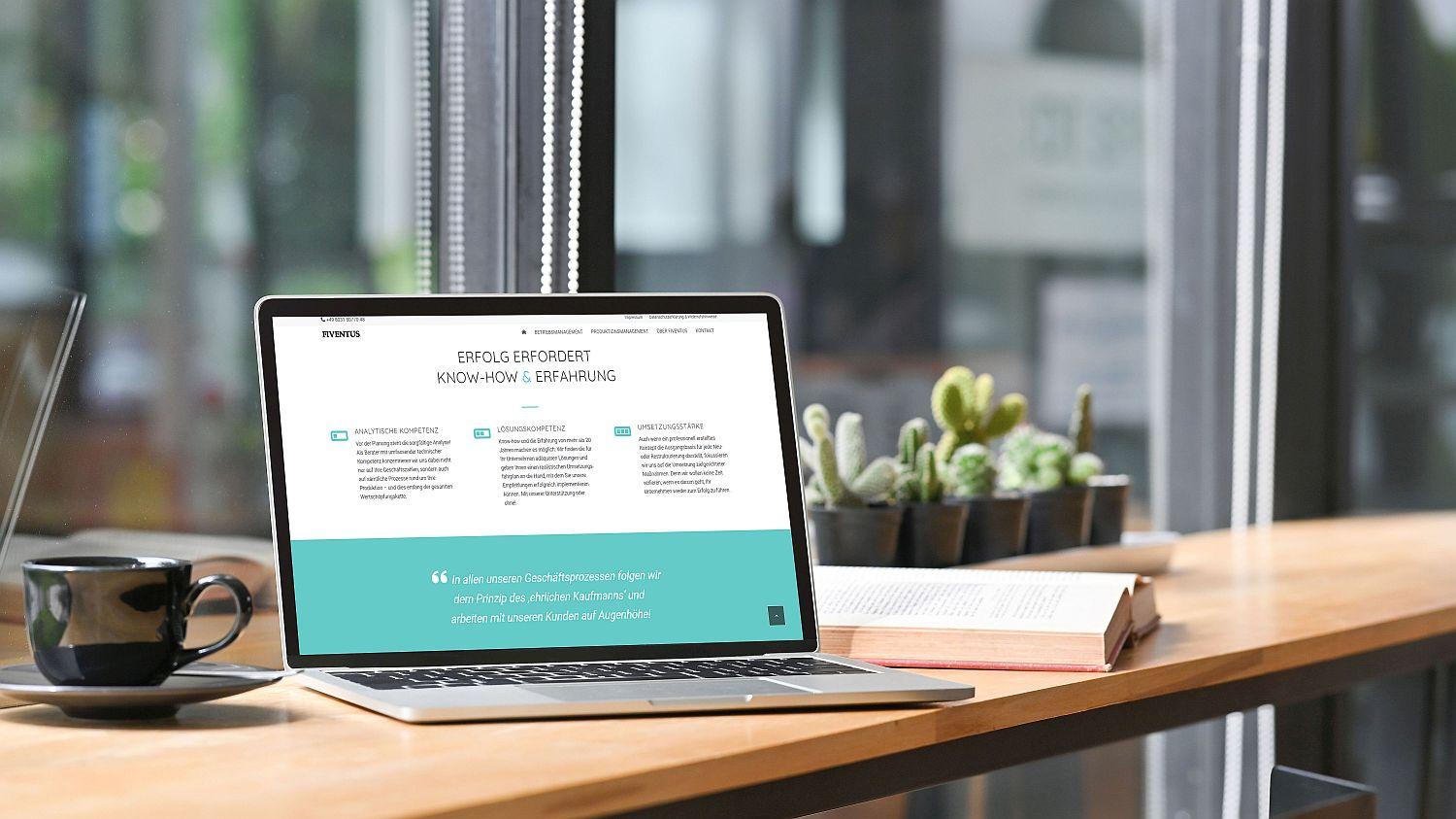 WordPress Website von Unternehmensberatung Fiventus Seite Home mit Profil