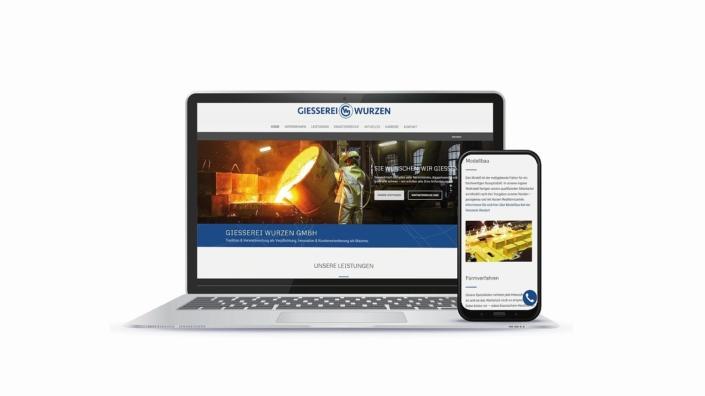 WordPress Website Esterer Giesserei Wurzen in responsivem Design