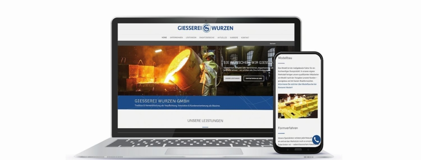 WordPress Website Esterer Giesserei Wurzen in responsivem Design
